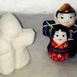 張子の雛人形原型と絵付け後