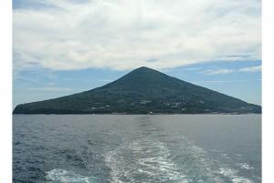 椿の島利島の遠景
