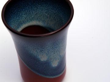無名異焼ビールコップ:ブルー ...